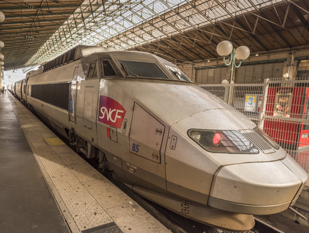 nord: Paris, France - February 15, 2016: SNCF high speed train parked in Gare du Nord from Paris, France, on 15 February 2016