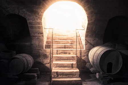 enlightening: Wine cellar stone stairs leading up towards bright light - Bright beam of light coming down through the entrance of a vintage wine cellar, enlightening the stone stairs and the old wooden barrels.