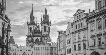 town square: Monochrome Church of our Lady Prague - Black and white image with the Church of our Lady before Tyn and other historical buildings from the Old Town Square , in Prague, Czech Republic