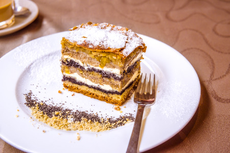 Exquisite sweet dessert, a traditional cake from Prekmurje with poppy seeds, nuts, cottage cheese and apple layers, called Prekmurska gibanica.