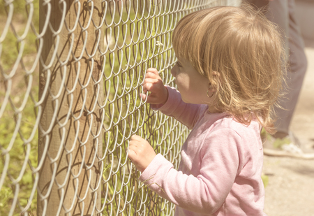 Little blonde girl holding with both hands a metal fence on a beautiful sunny day