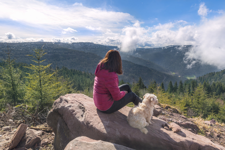 Young brunette woman with her Bichon Havanese dog sitting on a rock admiring the Hornisgrinde mountains, in Black Forest, Germany, on a sunny day. Banco de Imagens