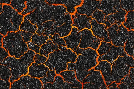 Lave rouge à travers le fond de sol fissuré. La texture du magma et le sol noir brûlé. Surface du volcan actif. Banque d'images