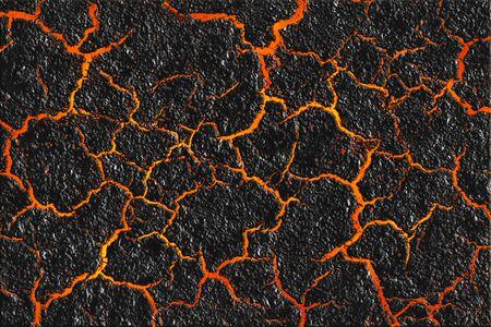 Roodgloeiende lava door de gebarsten grondachtergrond. Magmatextuur en de zwarte verbrande grond. Actief vulkaanoppervlak. Stockfoto