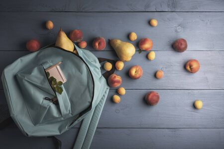 Ripe fruits on blue wooden table. Fresh peaches, pears, and apricots harvested in a rucksack
