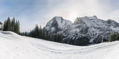 Winter snow panorama with snowdrifts, majestic snowy Alps mountains and fir forest, in Ehrwald, Austria. Sunshine in the mountains. Winter wonderland