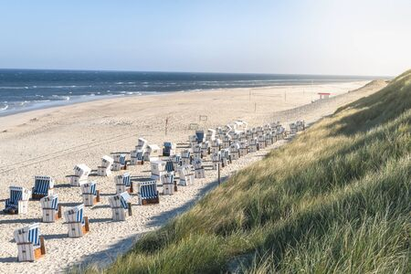 Beach scenery with sand, the North Sea water and marram grass dunes, beach chairs, on Sylt island, Germany. Wicker chairs and beach in summer heat.