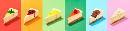 Collection of cheesecake slices with different topping sauce, isolated on rainbow colorful background. Cake slices collage for confectionery poster.