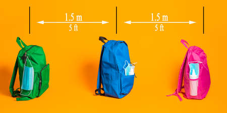 Backpacks equipped with facemasks and hand sanitizer isolated on an orange background. Back to school in pandemic with the social distance required.