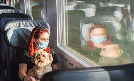 Young redheaded woman with face mask traveling by train, at first-class. Girl and dog travel by german intercity express train. Pandemic safe travel. Reklamní fotografie