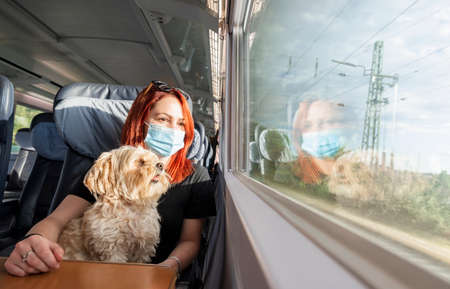 Young redhead woman and dog traveling by train, during pandemic. Millennial girl with a medical mask on a german intercity train, at business class.