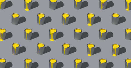 Yellow paint in tin cans aligned in a pattern, full-frame, isolated on an ultimate-gray colored background. Paint cans symmetry. 2021 color swatch.