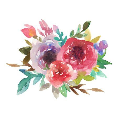 Bouquet arc-en-ciel aquarelle No 4