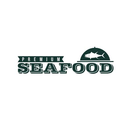Vector logo illustration of fish silhouette in food cover with text isolated on white background suit for seafood restaurant logo