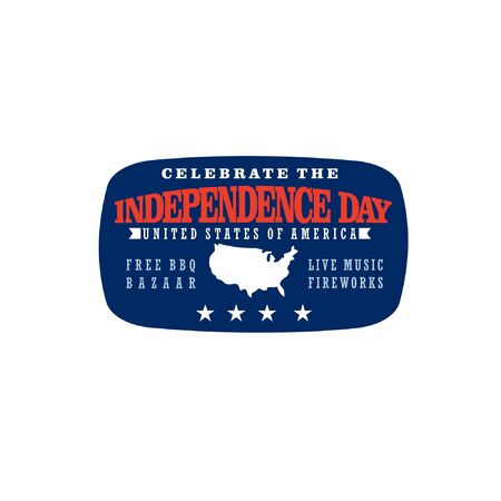 Vector illustration of series of events to commemorate the Independence Day of America with rounded square frame, simple typography and United States map