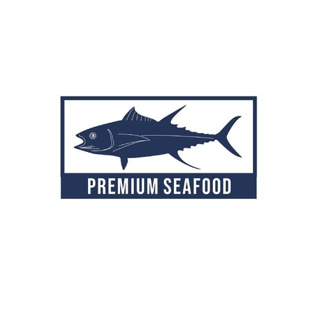 Vector logo illustration of fish silhouette in blue box with text isolated on white background suit for seafood restaurant logo, fish suppliers logo, etc 向量圖像