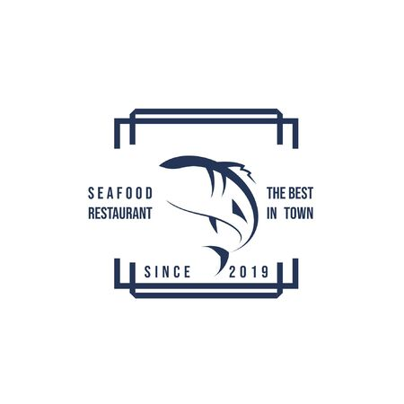 Vector illustration of seafood restaurant logo or fish suppliers logo with fish silhouette in geometric frame with text isolated on white background