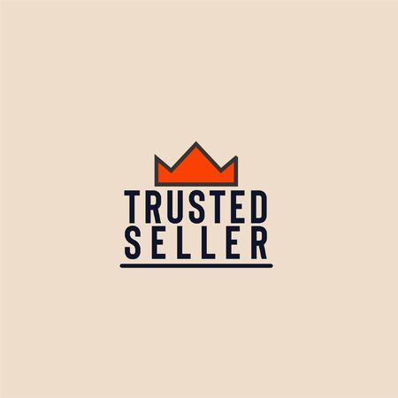 Line art orange crown with trusted seller text isolated on light background can be used as sign that your shopping website or marketplace is trustworthy