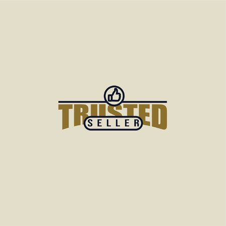 Vector illustration of trusted seller logo with thumbs up icon isolated on light background perfect as sign that your shopping website or marketplace is reliable and trustworthy Çizim
