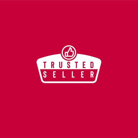 Trusted seller vector logo in pentagon frame with thumbs up icon in circle isolated on red background can be used as sign that your shopping website or marketplace is reliable and trustworthy