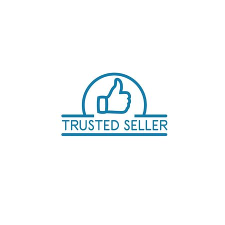 Simple monochrome vector illustration of trusted seller logo with thumbs up icon line art isolated on white background can be used as sign that your shopping website or marketplace is trustworthy