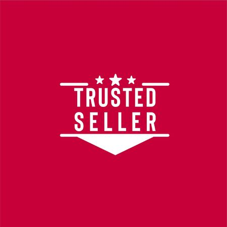 Vector illustration logo with trusted seller text, stars and ribbon isolated on red background can be used as sign that your shopping website or marketplace is trustworthy