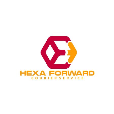 Hexagon with hidden arrow vector illustration isolated on white background perfect for logistics company or courier service logo