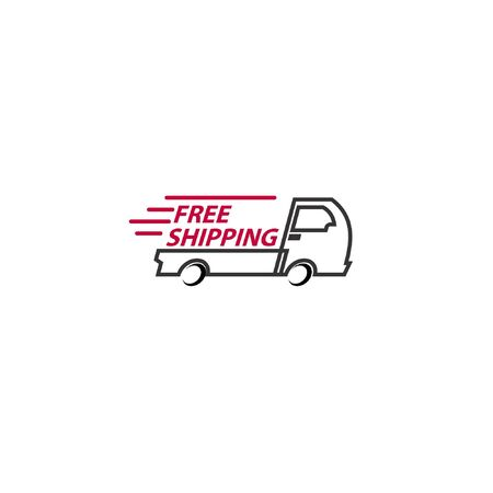 Vector illustration of line art delivery truck with free shipping text isolated on white background perfect for free shipping charge icon