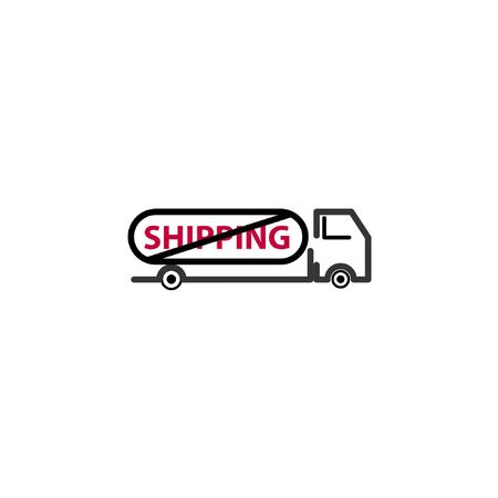 Shipment free vector logo with slashed shipping text in truck icon isolated on white background