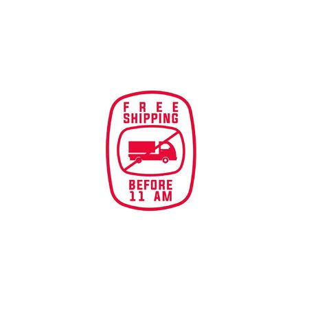 Shipment free vector logo with slashed truck icon in rounded square frame isolated on white background