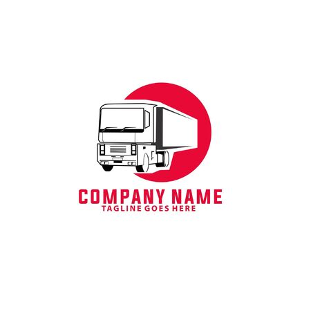 Vector illustration of long chassis delivery truck in red circle isolated on white background perfect for forwarding company, logistics company or courier service logo Logo