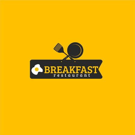 Vector illustration of text with frying pan, spatula and fried egg in black ribbon isolated on yellow background fit for steak restaurant logo