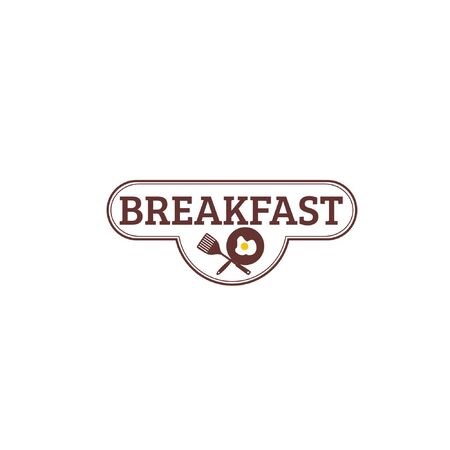 Vector illustration of spatula and frying pan with fried egg and text isolated on white background fit for restaurant logo which serving breakfast menu