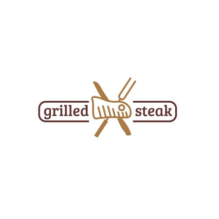 Restaurant logo with grilled meat, fork and knife isolated on white background suit for steak restaurant identity and logo or promotional purpose