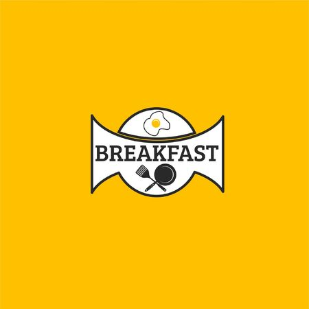 Vector illustration of text with frying pan, spatula and fried egg in white ribbon isolated on yellow background fit for morning restaurant logo