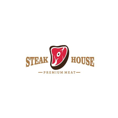 Big red sliced of meat decorated with simple text typography isolated on white background fit for modern steak restaurant logo