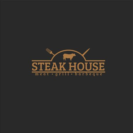 Steak house text with fork, knife and cow silhouette isolated on dark background fit for steak restaurant logo