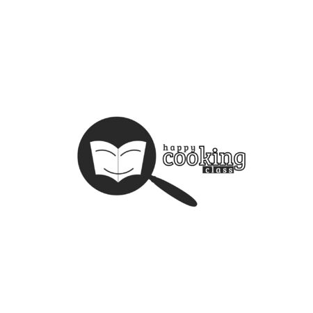 Vector illustration of cooking class logo with frying pan and book silhouette isolated on white background