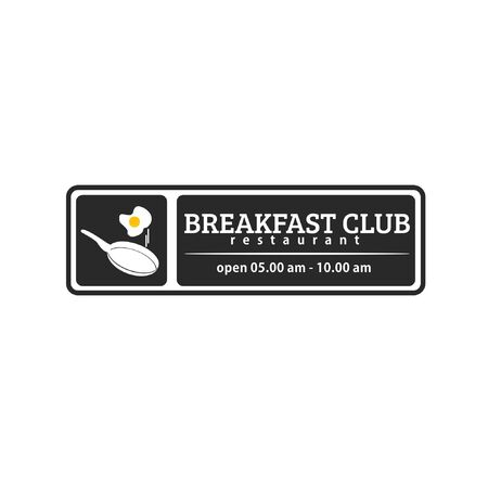 Vector illustration of morning restaurant with frying pan, fried egg and text isolated on white background fit for restaurant logo which serves breakfast menu