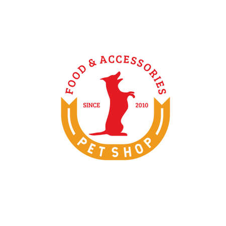 Pet shop food and accessories logo vector with standing dog silhouette and yellow ribbon isolated on white background