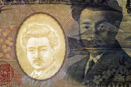 1000 Japanese yen banknote in transparency