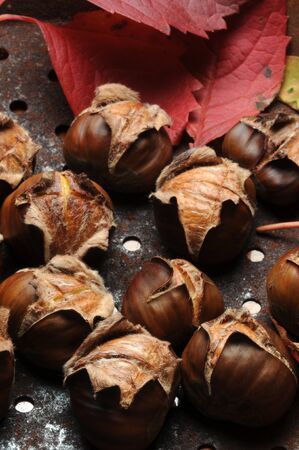 Roast chestnuts with the characteristic cut 版權商用圖片