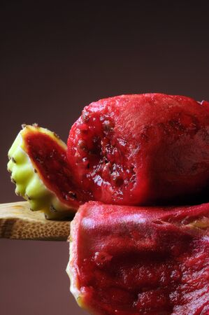 Prickly pear peeled on spoon
