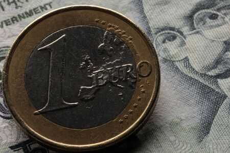 One euro coin on Indian currency Stock fotó