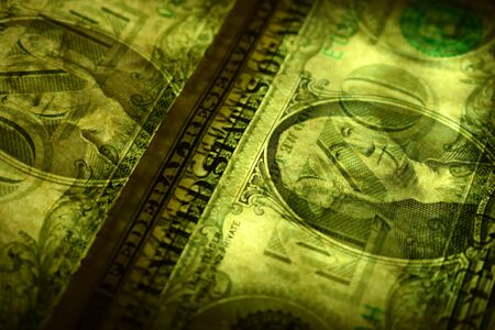 Closeup of the US dollar in transparency Stock Photo