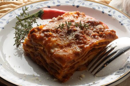 Hot lasagna with meat sauce and chilli pepper