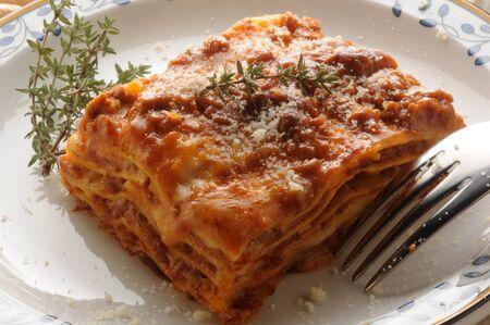 Hot lasagna with meat sauce