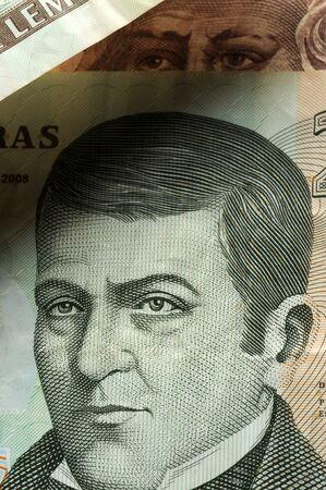 Close up on Honduran banknotes