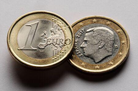 Spanish euro on white background