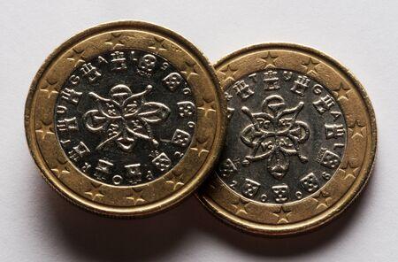 Portuguese euro on white background